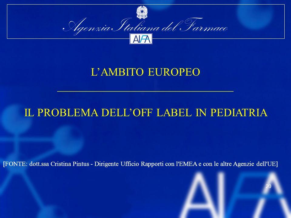 Agenzia Italiana del Farmaco 20 LAMBITO EUROPEO _______________________________ IL PROBLEMA DELLOFF LABEL IN PEDIATRIA [FONTE: dott.ssa Cristina Pintu