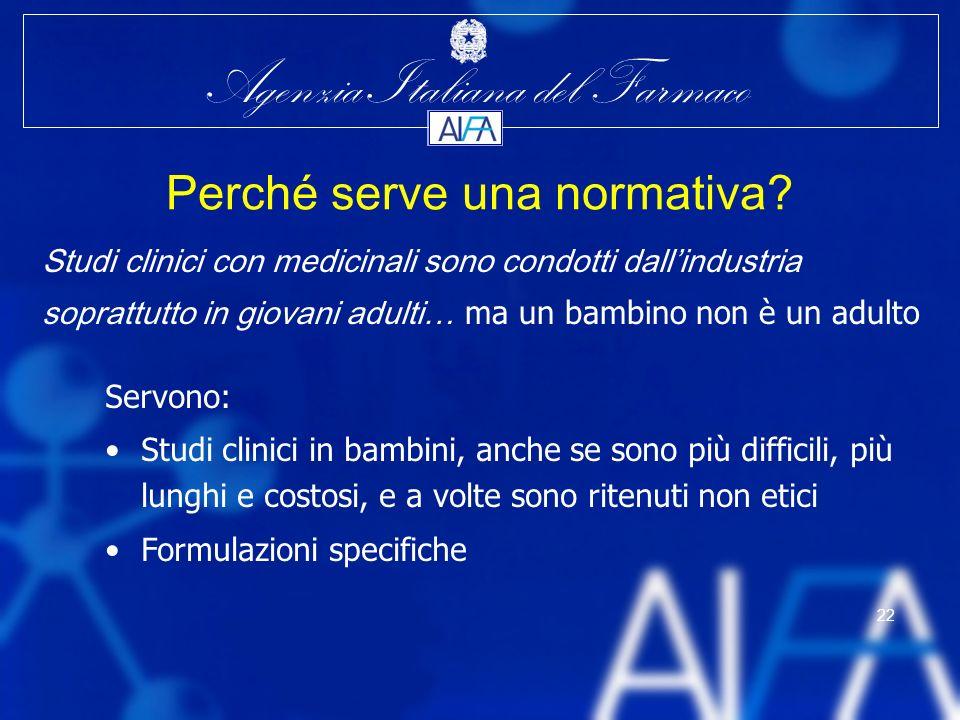 Agenzia Italiana del Farmaco 22 Servono: Studi clinici in bambini, anche se sono più difficili, più lunghi e costosi, e a volte sono ritenuti non etic
