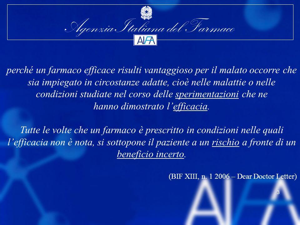 Agenzia Italiana del Farmaco 3 perché un farmaco efficace risulti vantaggioso per il malato occorre che sia impiegato in circostanze adatte, cioè nell