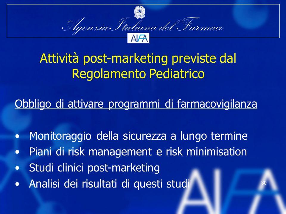 Agenzia Italiana del Farmaco 30 Attività post-marketing previste dal Regolamento Pediatrico Obbligo di attivare programmi di farmacovigilanza Monitora
