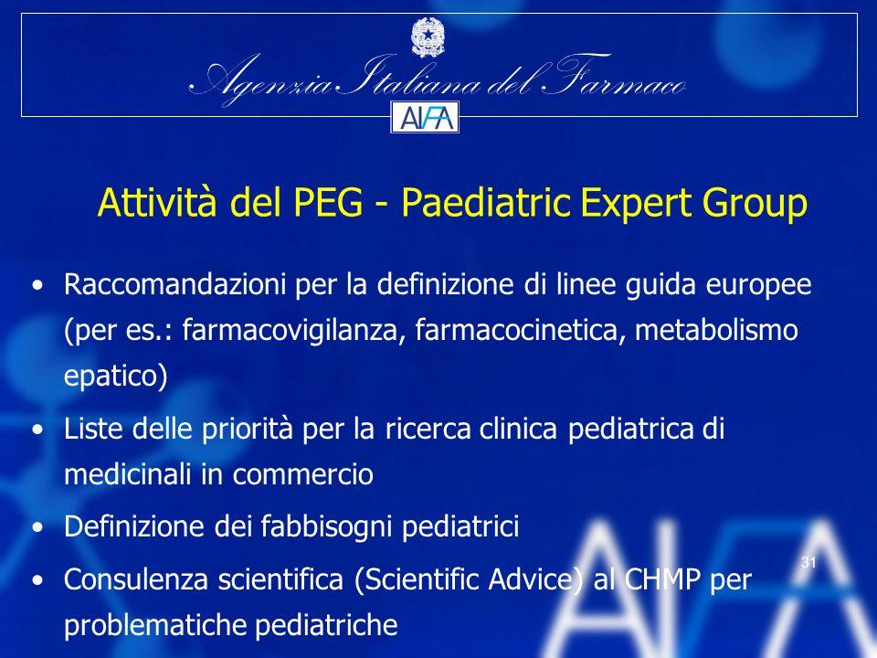 Agenzia Italiana del Farmaco 31 Attività del PEG - Paediatric Expert Group Raccomandazioni per la definizione di linee guida europee (per es.: farmaco