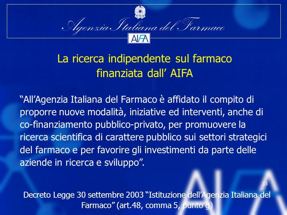 Agenzia Italiana del Farmaco 33 AllAgenzia Italiana del Farmaco è affidato il compito di proporre nuove modalità, iniziative ed interventi, anche di c