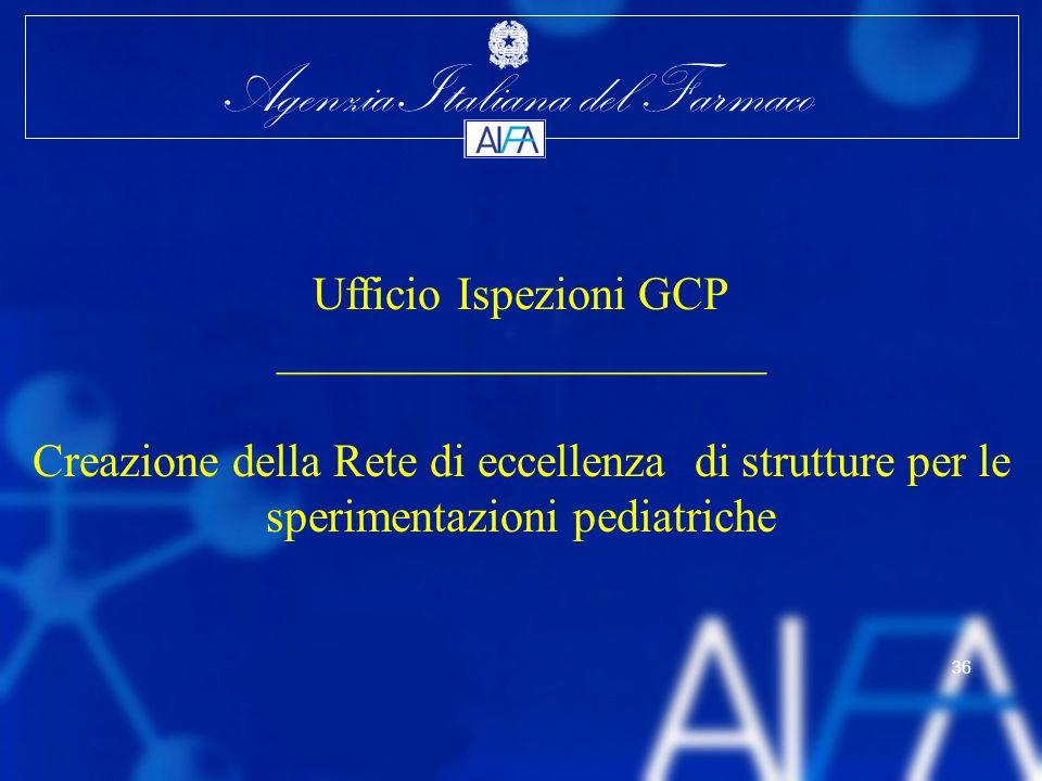 Agenzia Italiana del Farmaco 36 Ufficio Ispezioni GCP _____________________ Creazione della Rete di eccellenza di strutture per le sperimentazioni ped