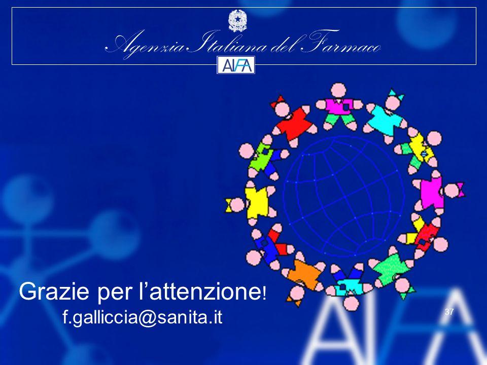 Agenzia Italiana del Farmaco 37 Grazie per lattenzione ! f.galliccia@sanita.it
