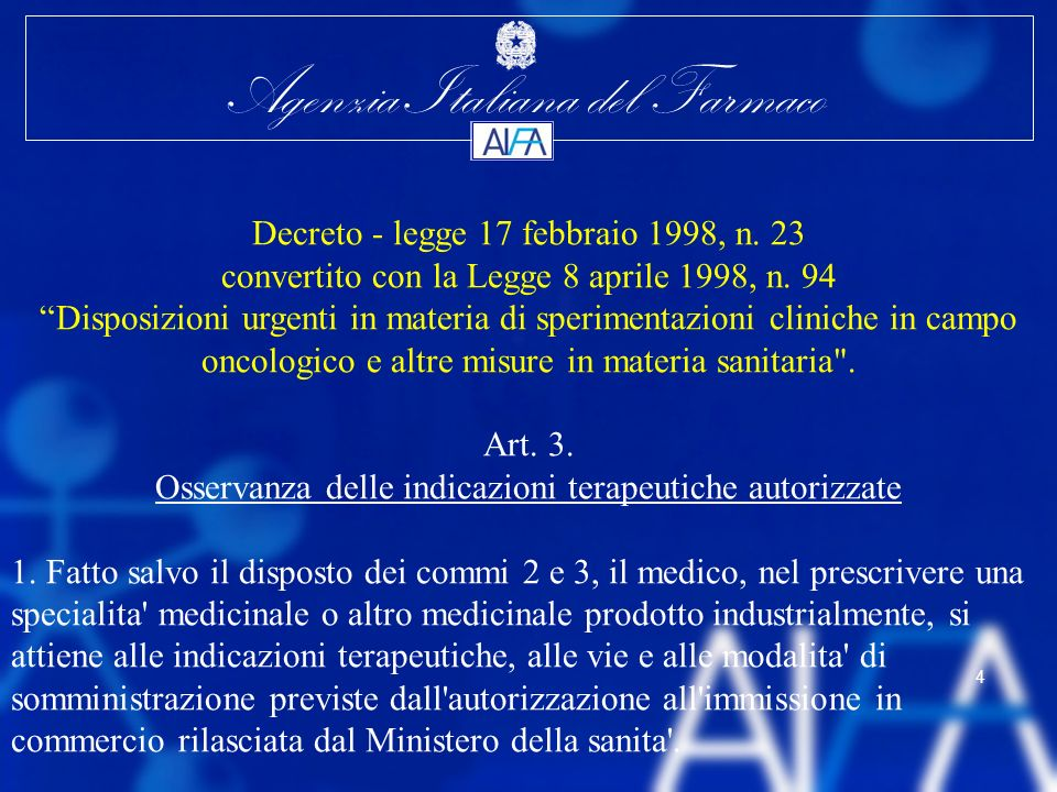 Agenzia Italiana del Farmaco 25 Legislative Process Second readings in Council and European Parliament in 2006 Adoption of Regulation by end of 2006 Implementing texts and guidelines in the following 3 months Staggered implementation Fonte: Dr.