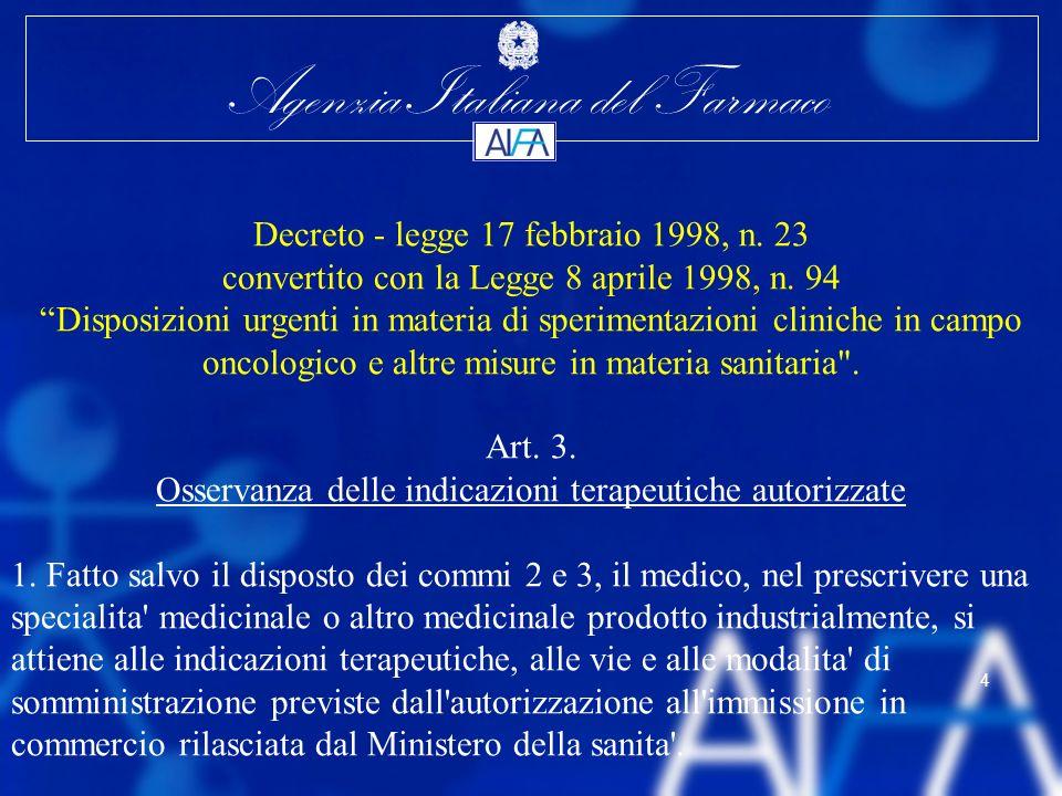 Agenzia Italiana del Farmaco 4 Decreto - legge 17 febbraio 1998, n. 23 convertito con la Legge 8 aprile 1998, n. 94 Disposizioni urgenti in materia di