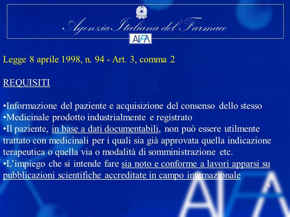 Agenzia Italiana del Farmaco 6 Legge 8 aprile 1998, n. 94 - Art. 3, comma 2 REQUISITI Informazione del paziente e acquisizione del consenso dello stes