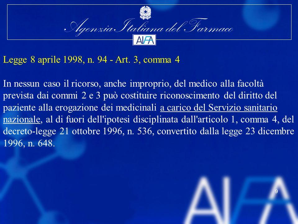 Agenzia Italiana del Farmaco 9 Legge 8 aprile 1998, n. 94 - Art. 3, comma 4 In nessun caso il ricorso, anche improprio, del medico alla facoltà previs