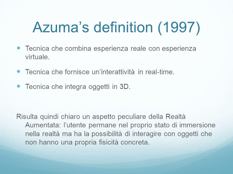 Azumas definition (1997) Tecnica che combina esperienza reale con esperienza virtuale.