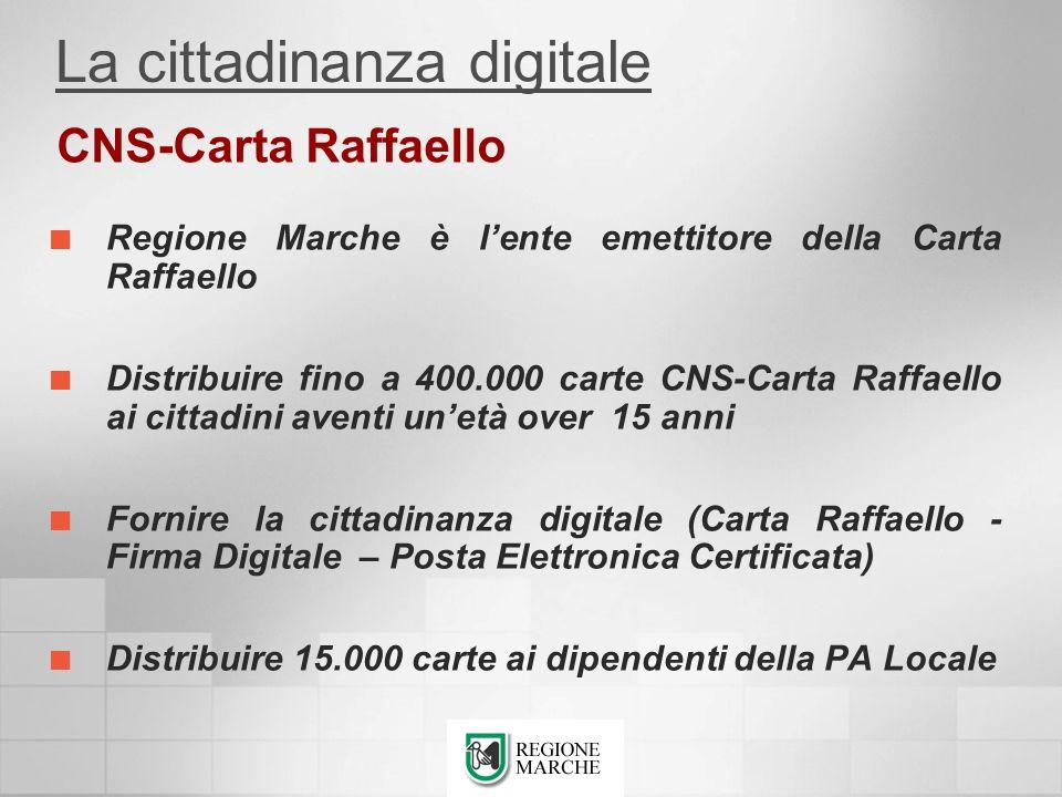 Regione Marche è lente emettitore della Carta Raffaello Distribuire fino a 400.000 carte CNS-Carta Raffaello ai cittadini aventi unetà over 15 anni Fo