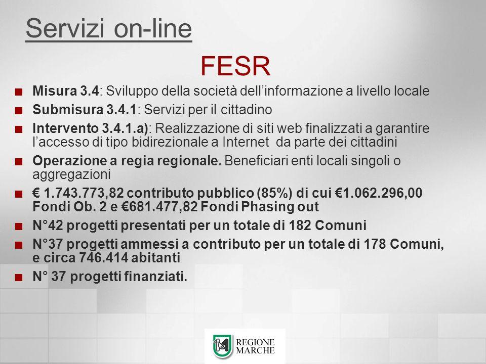 FESR Misura 3.4: Sviluppo della società dellinformazione a livello locale Submisura 3.4.1: Servizi per il cittadino Intervento 3.4.1.a): Realizzazione