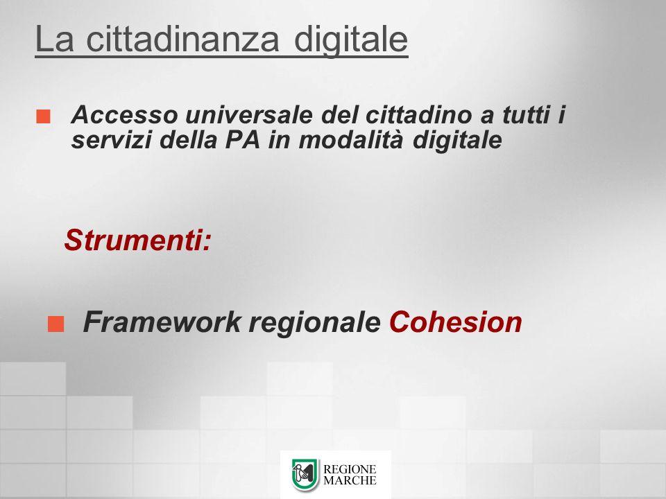 La cittadinanza digitale Accesso universale del cittadino a tutti i servizi della PA in modalità digitale Strumenti: Framework regionale Cohesion
