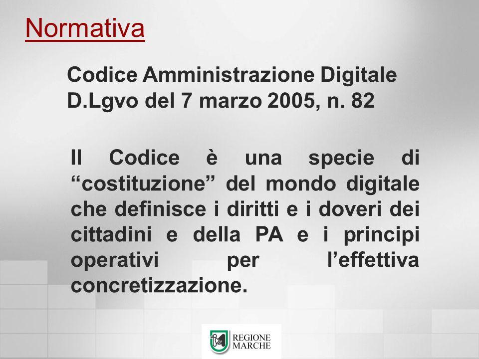 Normativa Il Codice è una specie di costituzione del mondo digitale che definisce i diritti e i doveri dei cittadini e della PA e i principi operativi