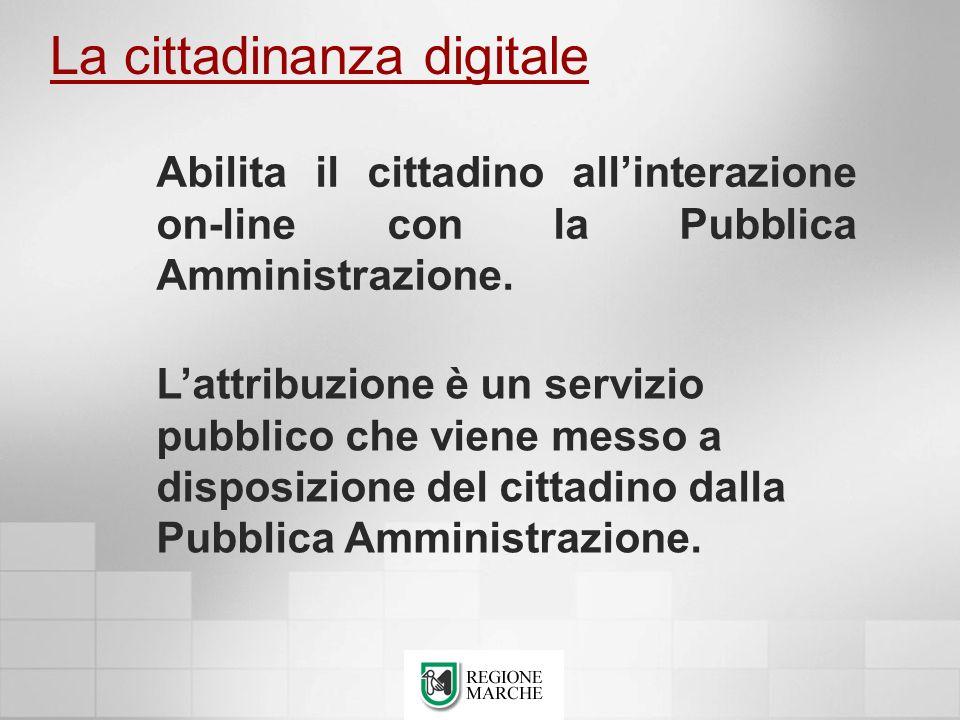La cittadinanza digitale Lattribuzione è un servizio pubblico che viene messo a disposizione del cittadino dalla Pubblica Amministrazione. Abilita il