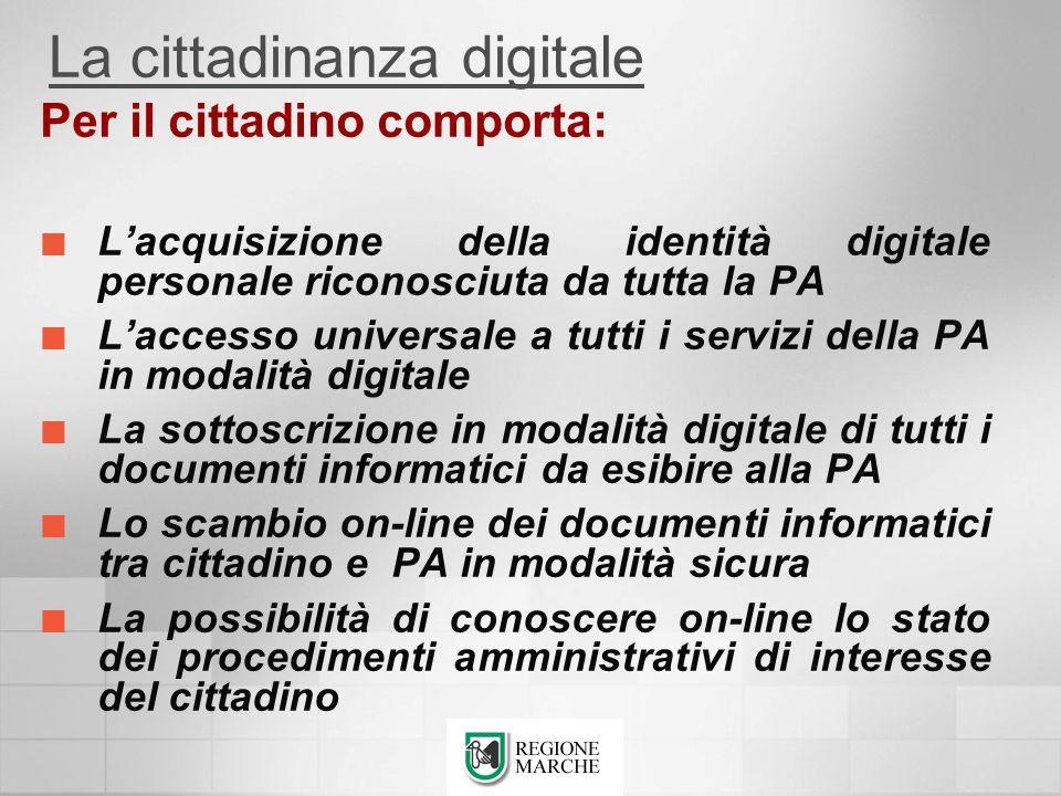 Per il cittadino comporta: Lacquisizione della identità digitale personale riconosciuta da tutta la PA Laccesso universale a tutti i servizi della PA