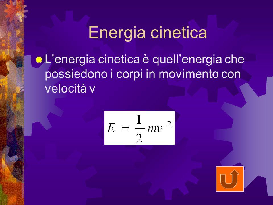 Energia cinetica Lenergia cinetica è quellenergia che possiedono i corpi in movimento con velocità v