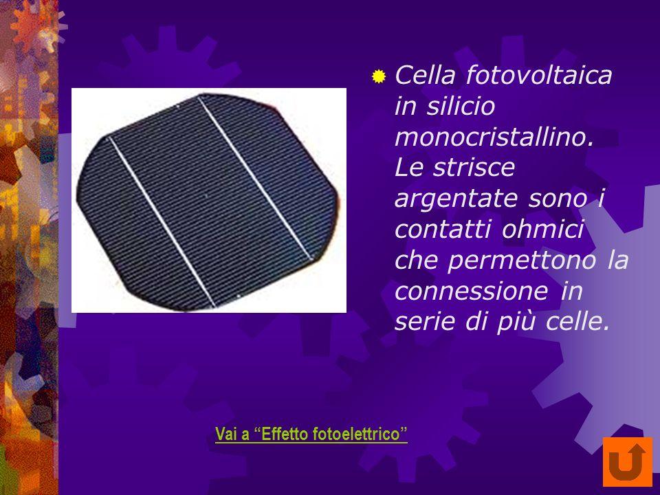 Cella fotovoltaica in silicio monocristallino.