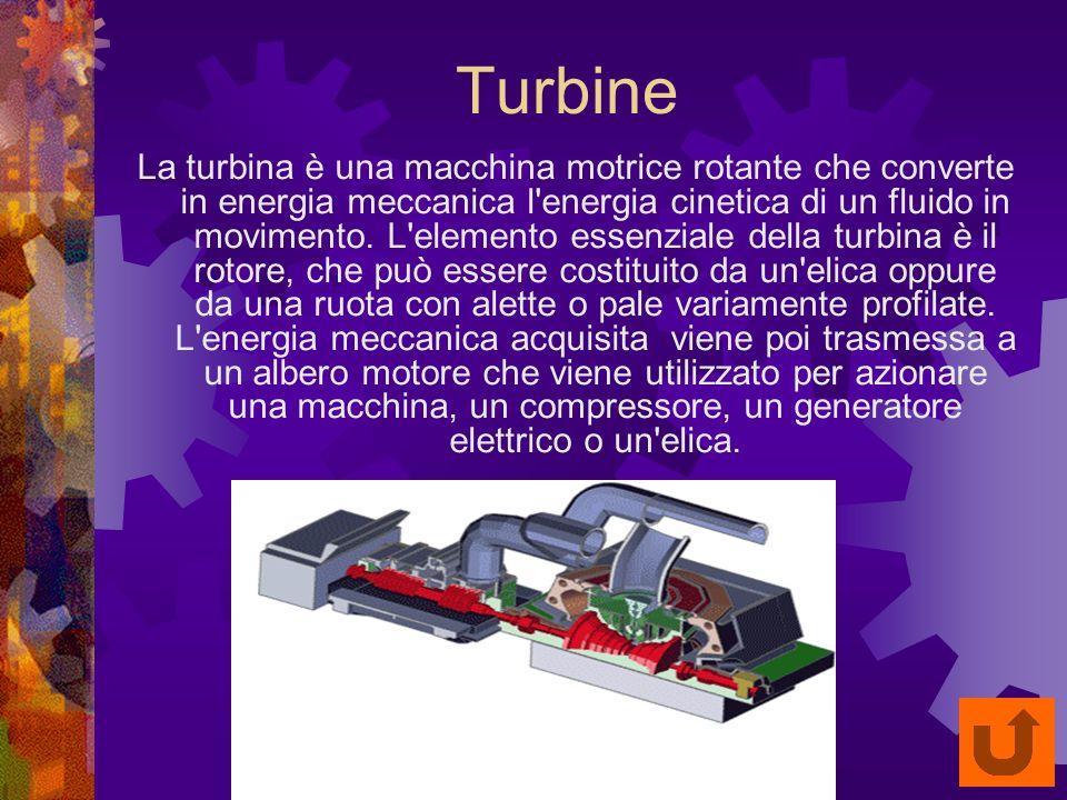 Turbine La turbina è una macchina motrice rotante che converte in energia meccanica l energia cinetica di un fluido in movimento.