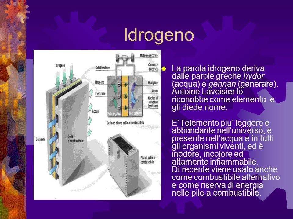 Idrogeno La parola idrogeno deriva dalle parole greche hydor (acqua) e gennàn (generare).