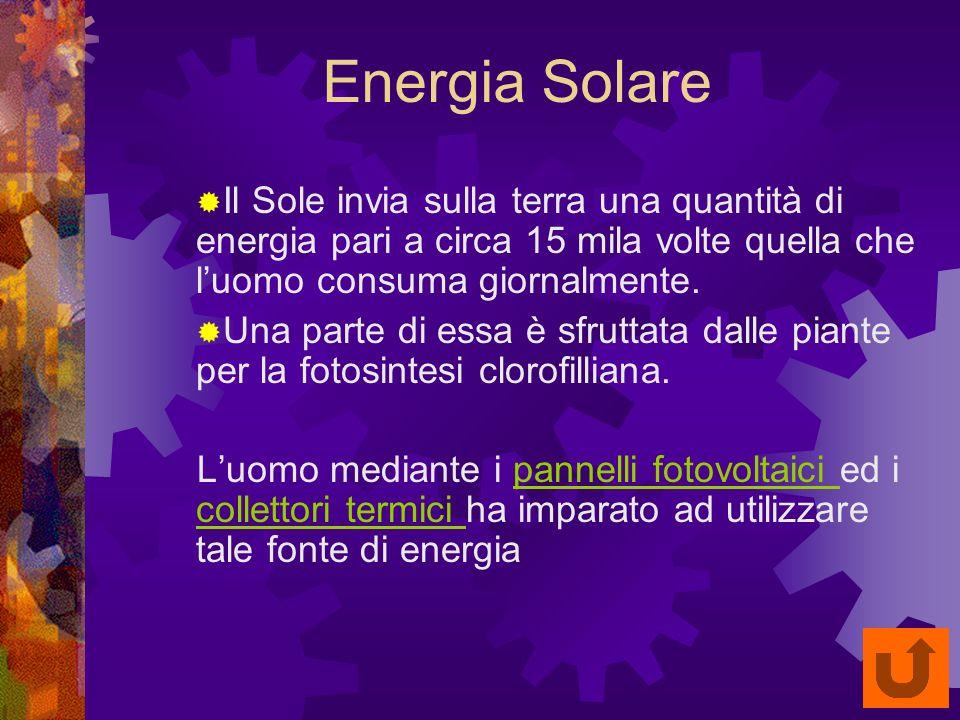 Energia Solare Il Sole invia sulla terra una quantità di energia pari a circa 15 mila volte quella che luomo consuma giornalmente.
