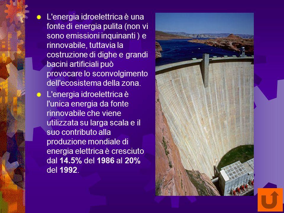 L energia idroelettrica è una fonte di energia pulita (non vi sono emissioni inquinanti ) e rinnovabile, tuttavia la costruzione di dighe e grandi bacini artificiali può provocare lo sconvolgimento dell ecosistema della zona.