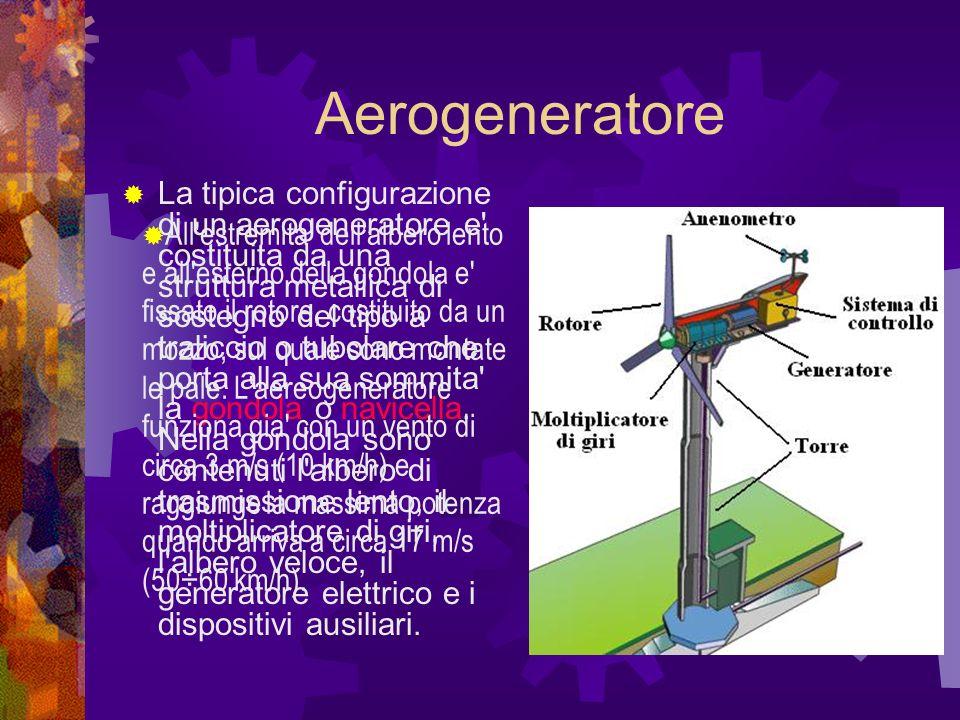 Aerogeneratore La tipica configurazione di un aerogeneratore e costituita da una struttura metallica di sostegno del tipo a traliccio o tubolare che porta alla sua sommita la gondola o navicella.