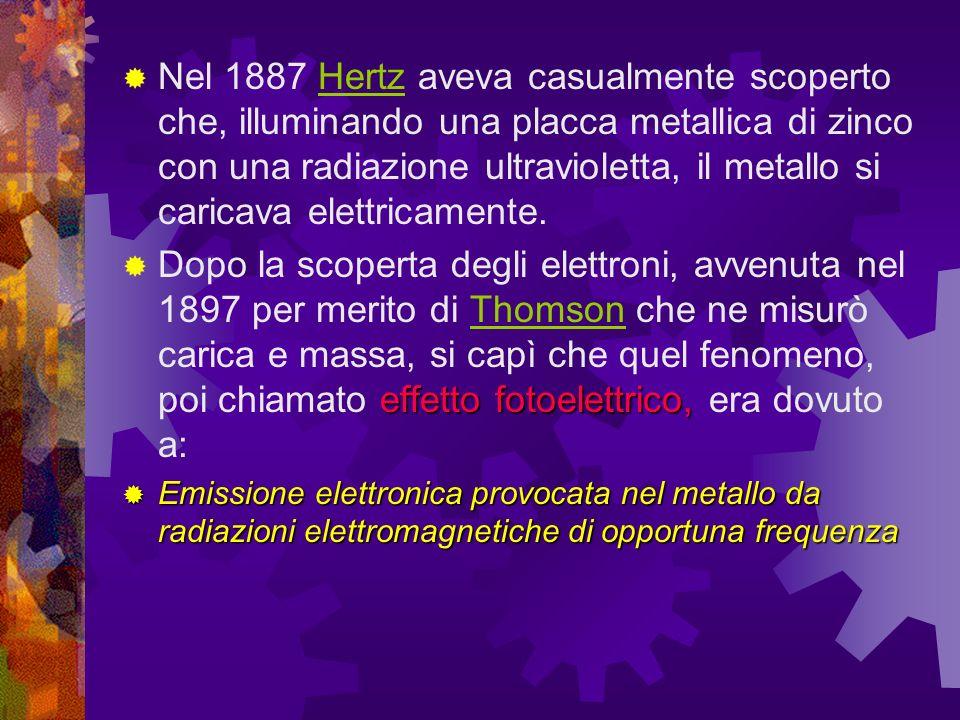 Nel 1887 Hertz aveva casualmente scoperto che, illuminando una placca metallica di zinco con una radiazione ultravioletta, il metallo si caricava elettricamente.Hertz effetto fotoelettrico, Dopo la scoperta degli elettroni, avvenuta nel 1897 per merito di Thomson che ne misurò carica e massa, si capì che quel fenomeno, poi chiamato effetto fotoelettrico, era dovuto a:Thomson Emissione elettronica provocata nel metallo da radiazioni elettromagnetiche di opportuna frequenza Emissione elettronica provocata nel metallo da radiazioni elettromagnetiche di opportuna frequenza
