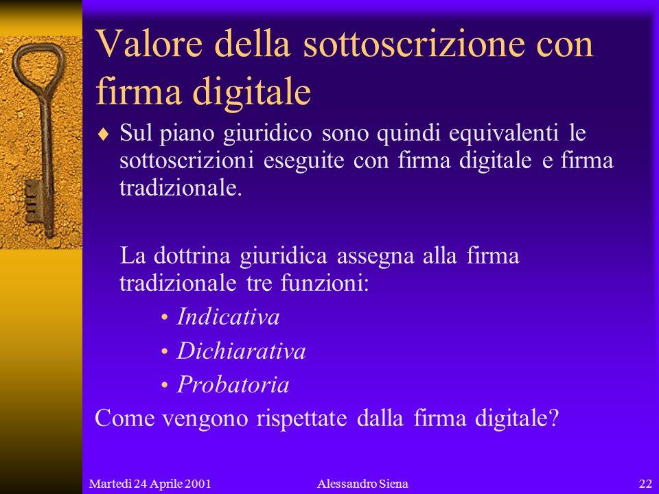 Martedì 24 Aprile 200122Alessandro Siena Valore della sottoscrizione con firma digitale Sul piano giuridico sono quindi equivalenti le sottoscrizioni eseguite con firma digitale e firma tradizionale.