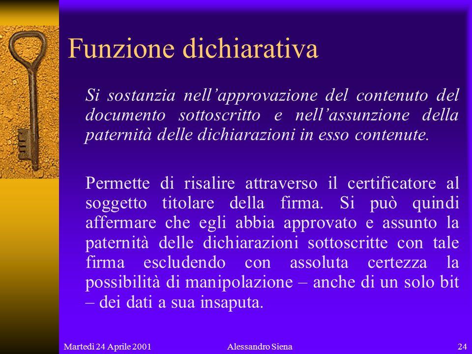 Martedì 24 Aprile 200124Alessandro Siena Funzione dichiarativa Si sostanzia nellapprovazione del contenuto del documento sottoscritto e nellassunzione della paternità delle dichiarazioni in esso contenute.