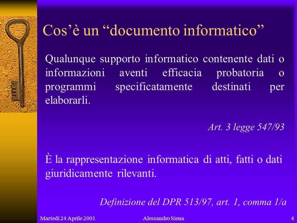 Martedì 24 Aprile 20014Alessandro Siena Cosè un documento informatico Qualunque supporto informatico contenente dati o informazioni aventi efficacia probatoria o programmi specificatamente destinati per elaborarli.