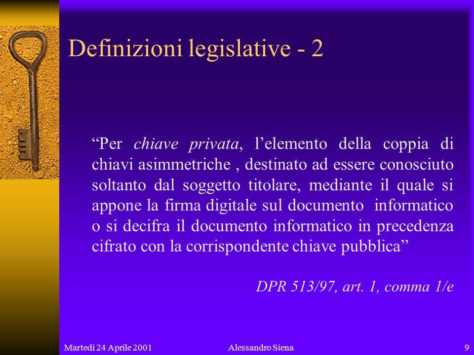 Martedì 24 Aprile 200130Alessandro Siena In un lontano futuro forse…