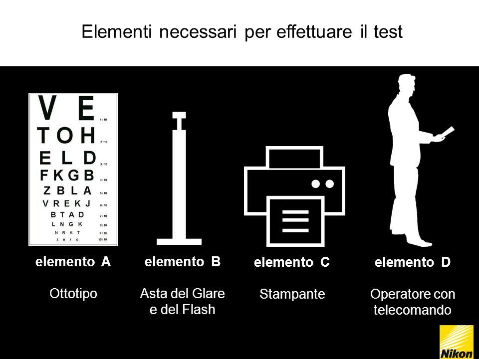 Elementi necessari per effettuare il test elemento A Ottotipo elemento B Asta del Glare e del Flash elemento C Stampante elemento D Operatore con telecomando