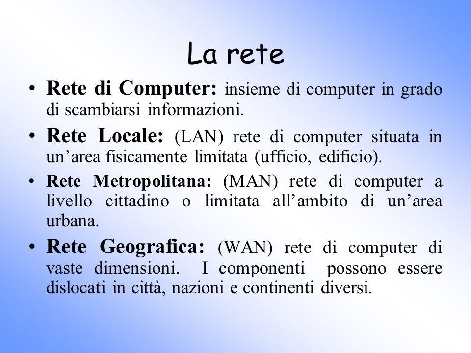 La rete Rete di Computer: insieme di computer in grado di scambiarsi informazioni. Rete Locale: (LAN) rete di computer situata in unarea fisicamente l