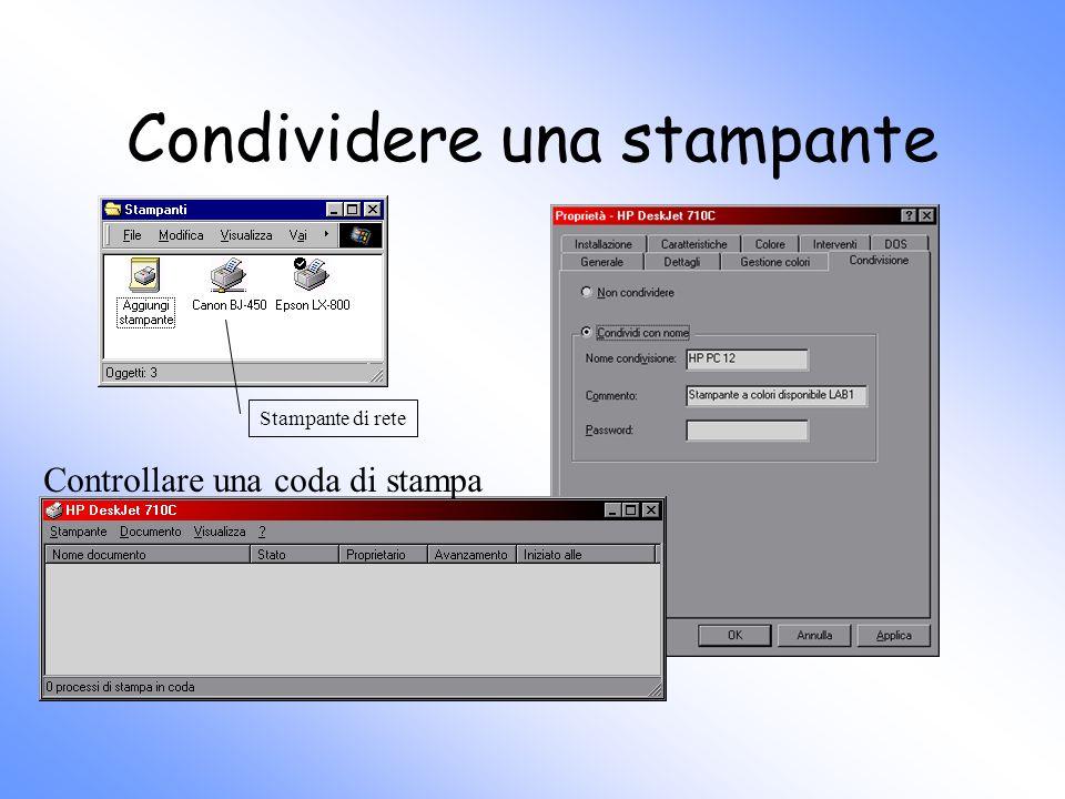 Condividere una stampante Controllare una coda di stampa Stampante di rete