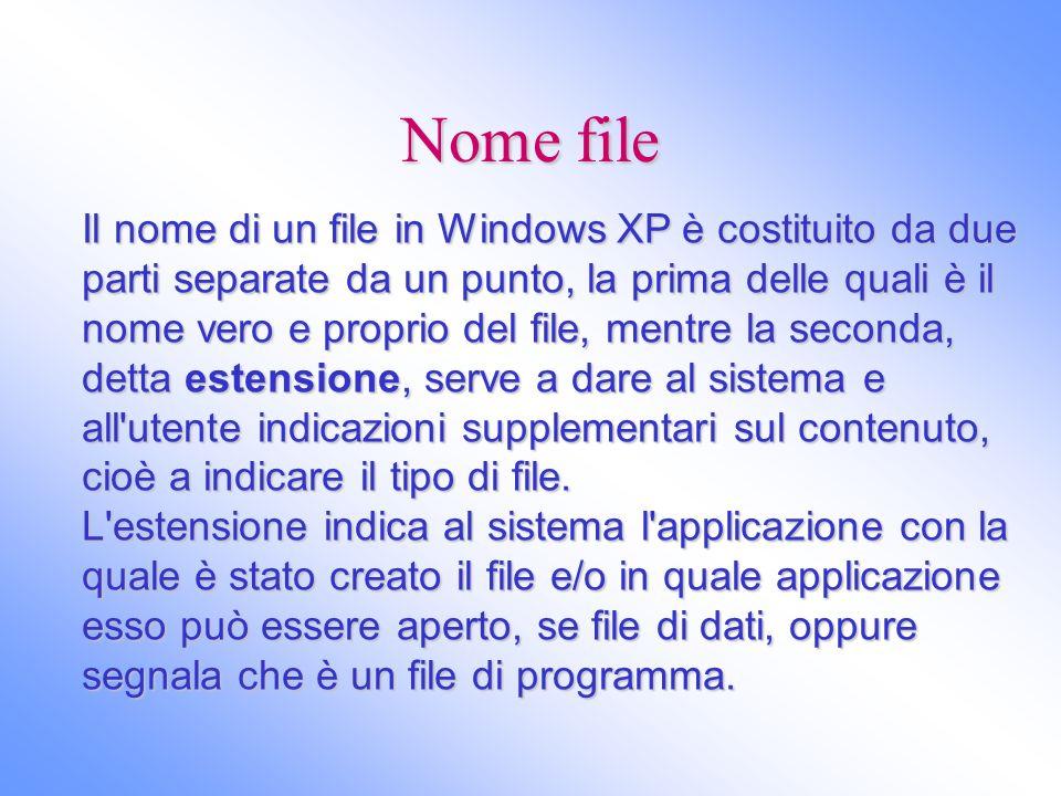 Nome file Il nome di un file in Windows XP è costituito da due parti separate da un punto, la prima delle quali è il nome vero e proprio del file, men