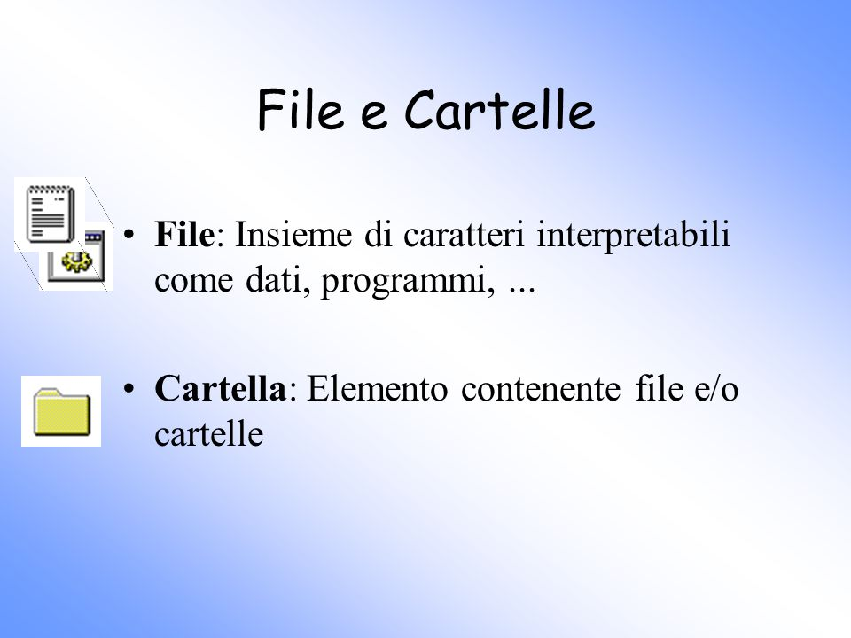 File e Cartelle File: Insieme di caratteri interpretabili come dati, programmi,... Cartella: Elemento contenente file e/o cartelle