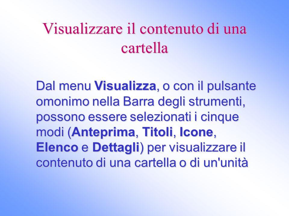 Visualizzare il contenuto di una cartella Dal menu Visualizza, o con il pulsante omonimo nella Barra degli strumenti, possono essere selezionati i cin