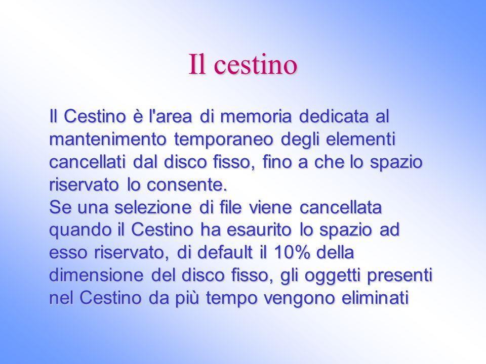 Il cestino Il Cestino è l'area di memoria dedicata al mantenimento temporaneo degli elementi cancellati dal disco fisso, fino a che lo spazio riservat