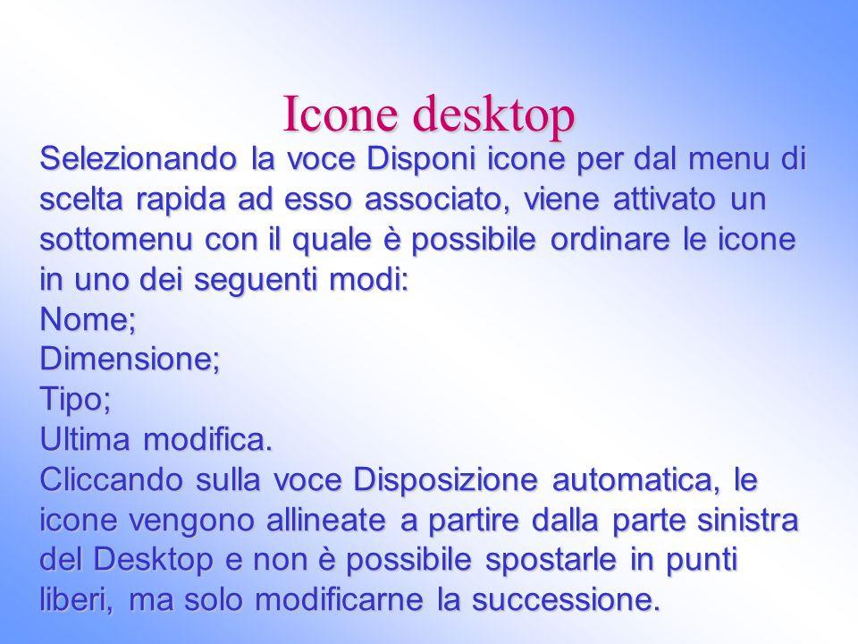 Icone desktop Selezionando la voce Disponi icone per dal menu di scelta rapida ad esso associato, viene attivato un sottomenu con il quale è possibile