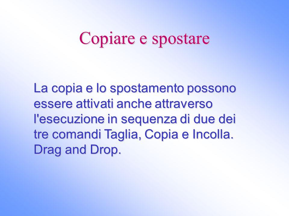 Copiare e spostare La copia e lo spostamento possono essere attivati anche attraverso l'esecuzione in sequenza di due dei tre comandi Taglia, Copia e