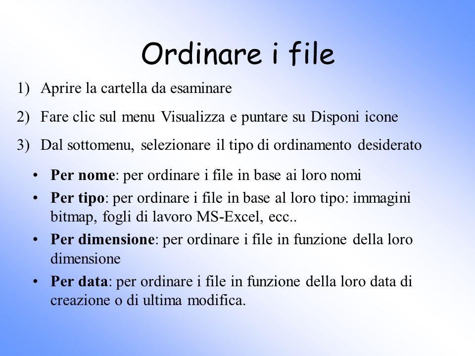 Ordinare i file Per nome: per ordinare i file in base ai loro nomi Per tipo: per ordinare i file in base al loro tipo: immagini bitmap, fogli di lavor