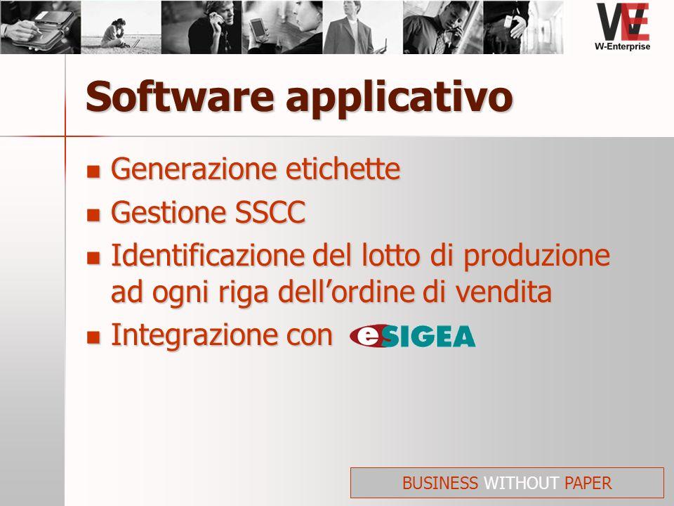Software applicativo Generazione etichette Generazione etichette Gestione SSCC Gestione SSCC Identificazione del lotto di produzione ad ogni riga dell