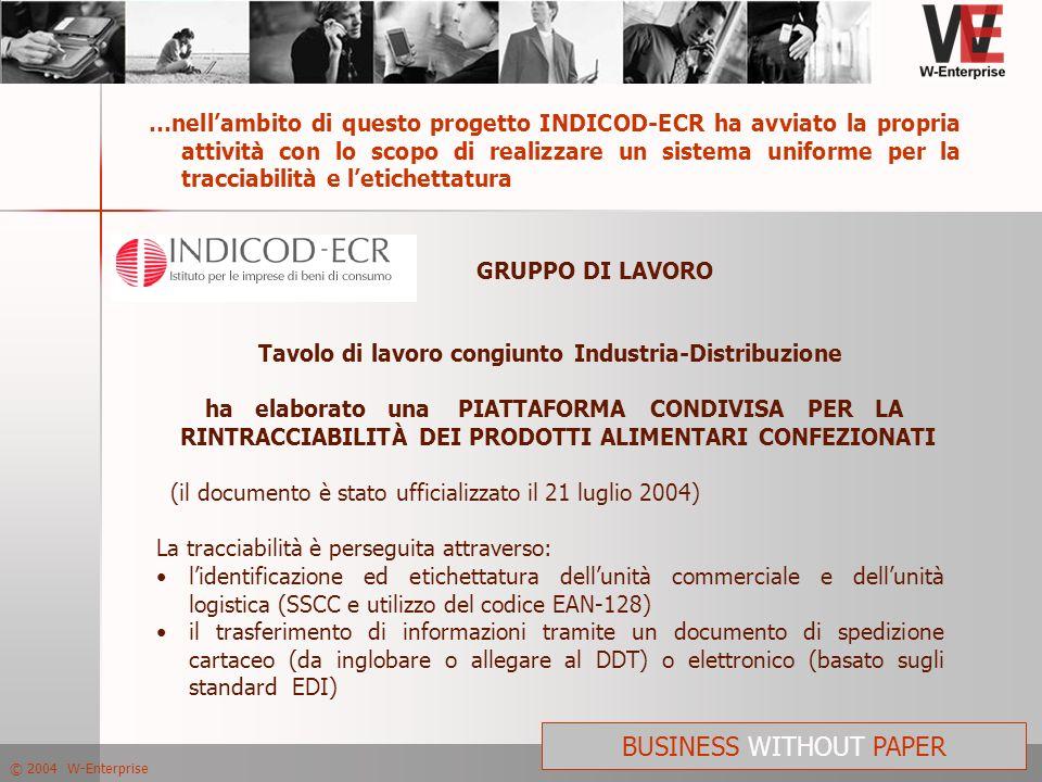 © 2004 W-Enterprise BUSINESS WITHOUT PAPER …nellambito di questo progetto INDICOD-ECR ha avviato la propria attività con lo scopo di realizzare un sis