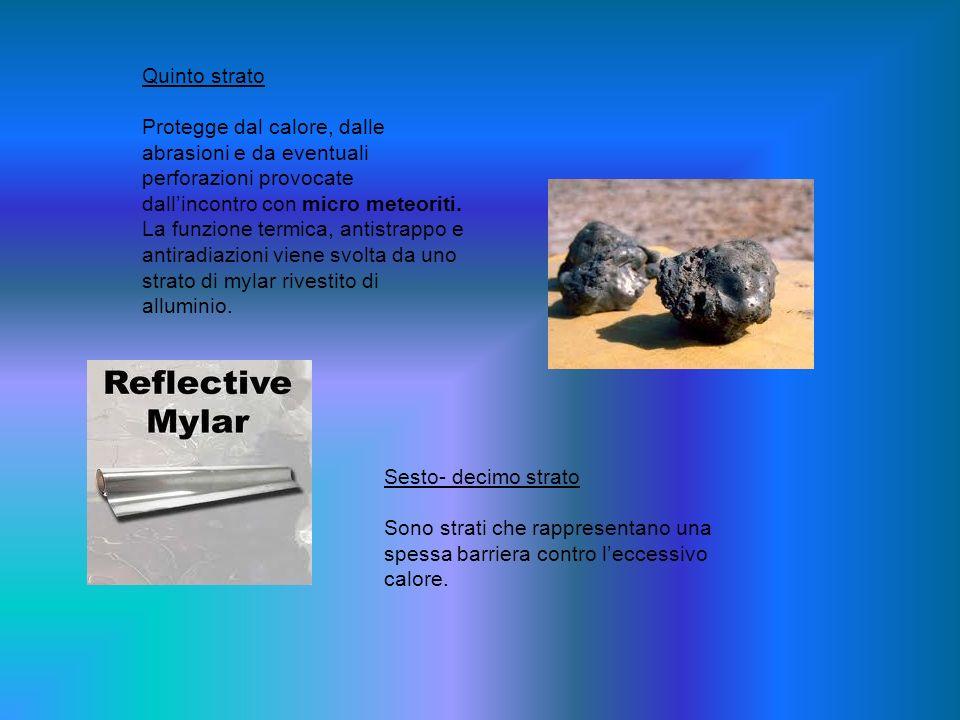 Quinto strato Protegge dal calore, dalle abrasioni e da eventuali perforazioni provocate dallincontro con micro meteoriti. La funzione termica, antist