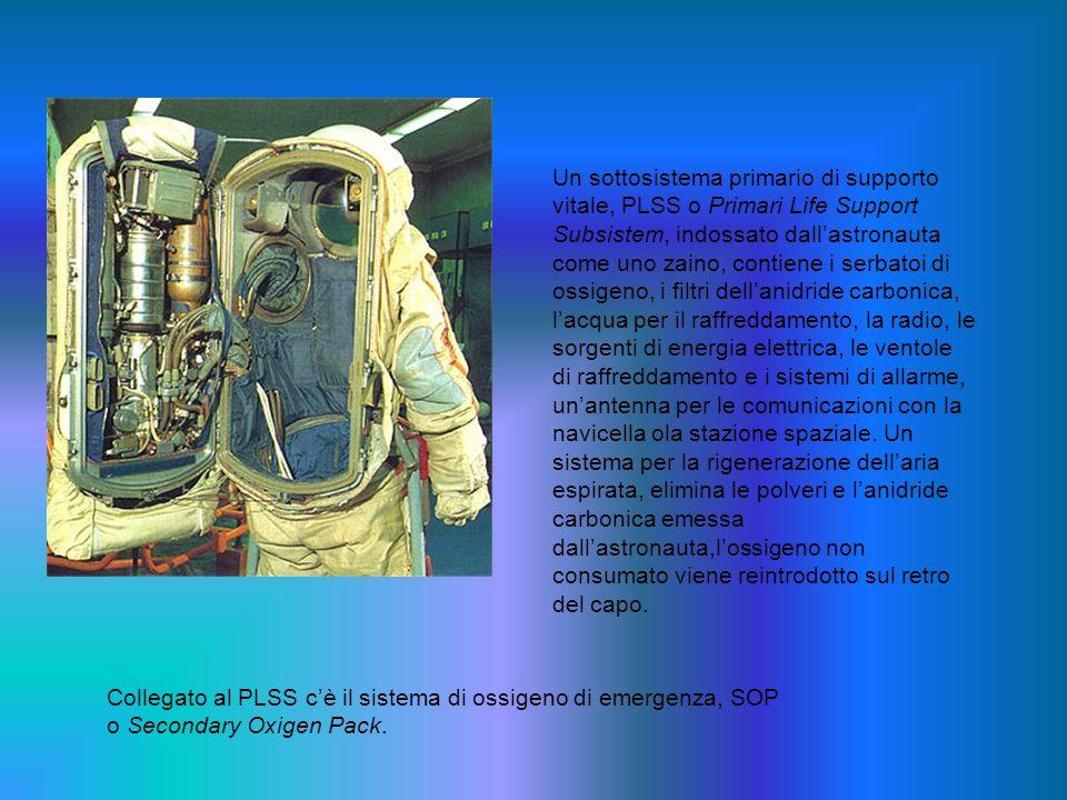 Un sottosistema primario di supporto vitale, PLSS o Primari Life Support Subsistem, indossato dallastronauta come uno zaino, contiene i serbatoi di os
