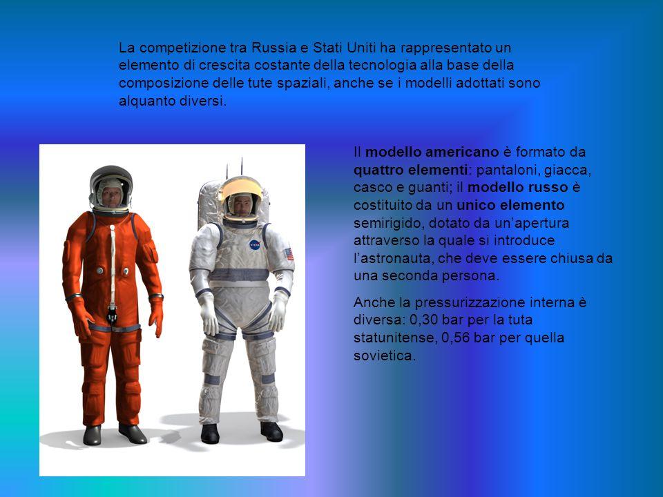 Il modello americano è formato da quattro elementi: pantaloni, giacca, casco e guanti; il modello russo è costituito da un unico elemento semirigido,