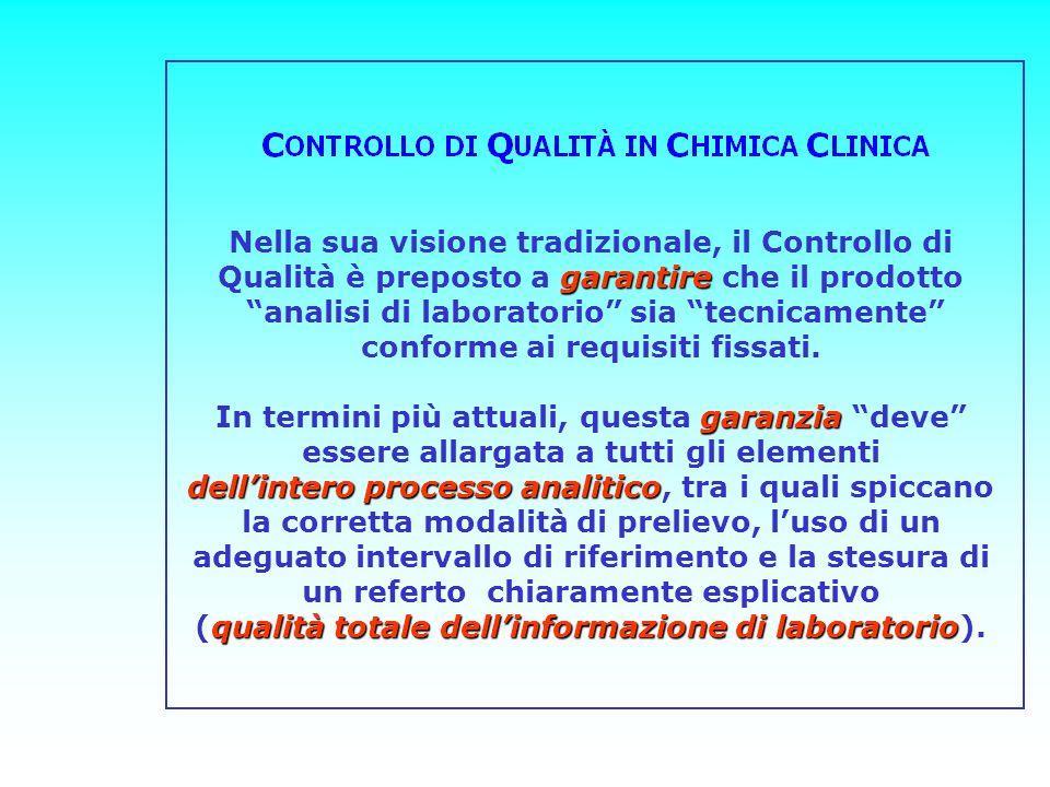 garantire Nella sua visione tradizionale, il Controllo di Qualità è preposto a garantire che il prodotto analisi di laboratorio sia tecnicamente confo
