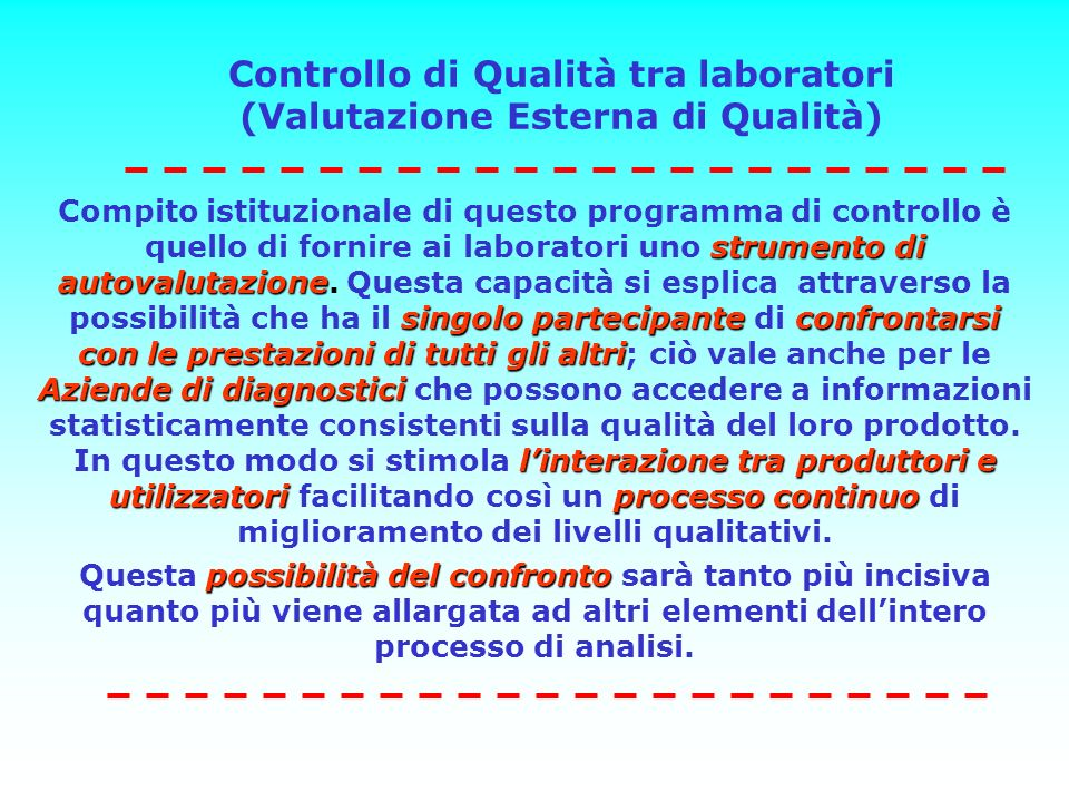 Controllo di Qualità tra laboratori (Valutazione Esterna di Qualità) strumento di autovalutazione singolo partecipanteconfrontarsi con le prestazioni