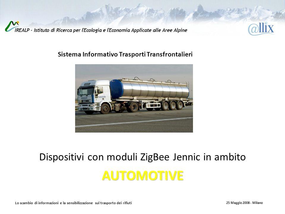 Introduzione Dispositivi con moduli ZigBee Jennic in ambitoAUTOMOTIVE Sistema Informativo Trasporti Transfrontalieri Lo scambio di informazioni e la sensibilizzazione sul trasporto dei rifiuti 25 Maggio 2008 - Milano