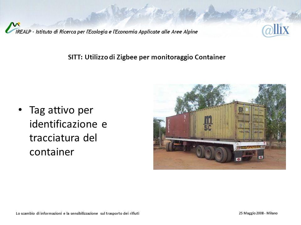 SITT: Utilizzo di Zigbee per monitoraggio Container Tag attivo per identificazione e tracciatura del container Lo scambio di informazioni e la sensibilizzazione sul trasporto dei rifiuti 25 Maggio 2008 - Milano